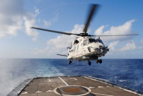 NH90 helicopter landing on the frigate